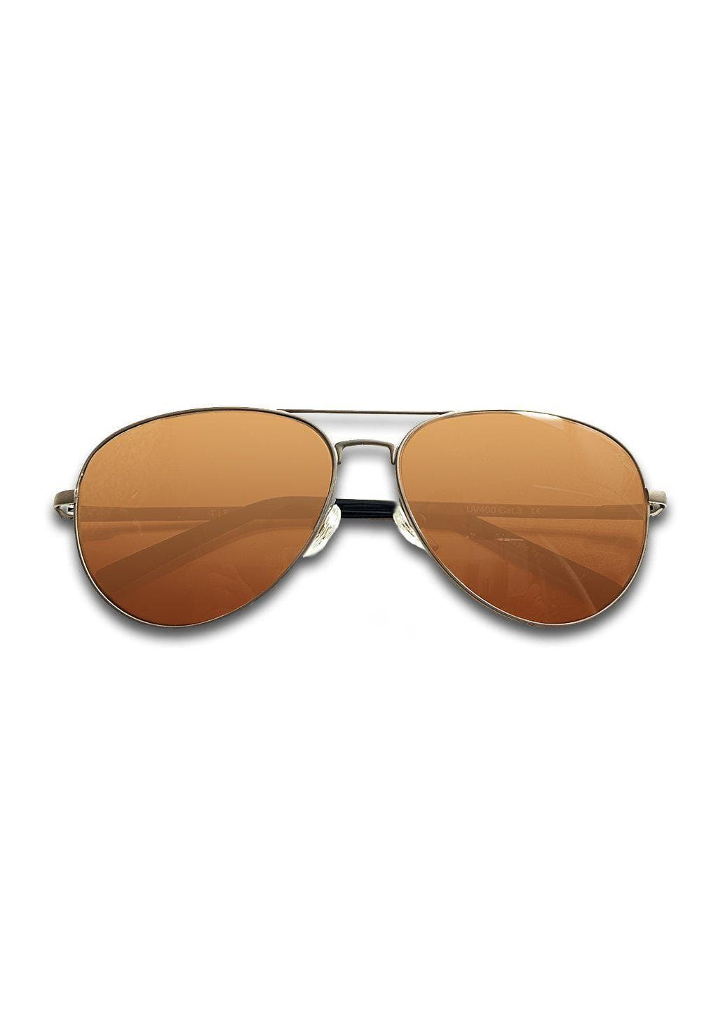 Titanium Aviator Sunglasses - TITAN - Gun Metal - With brown lenses.