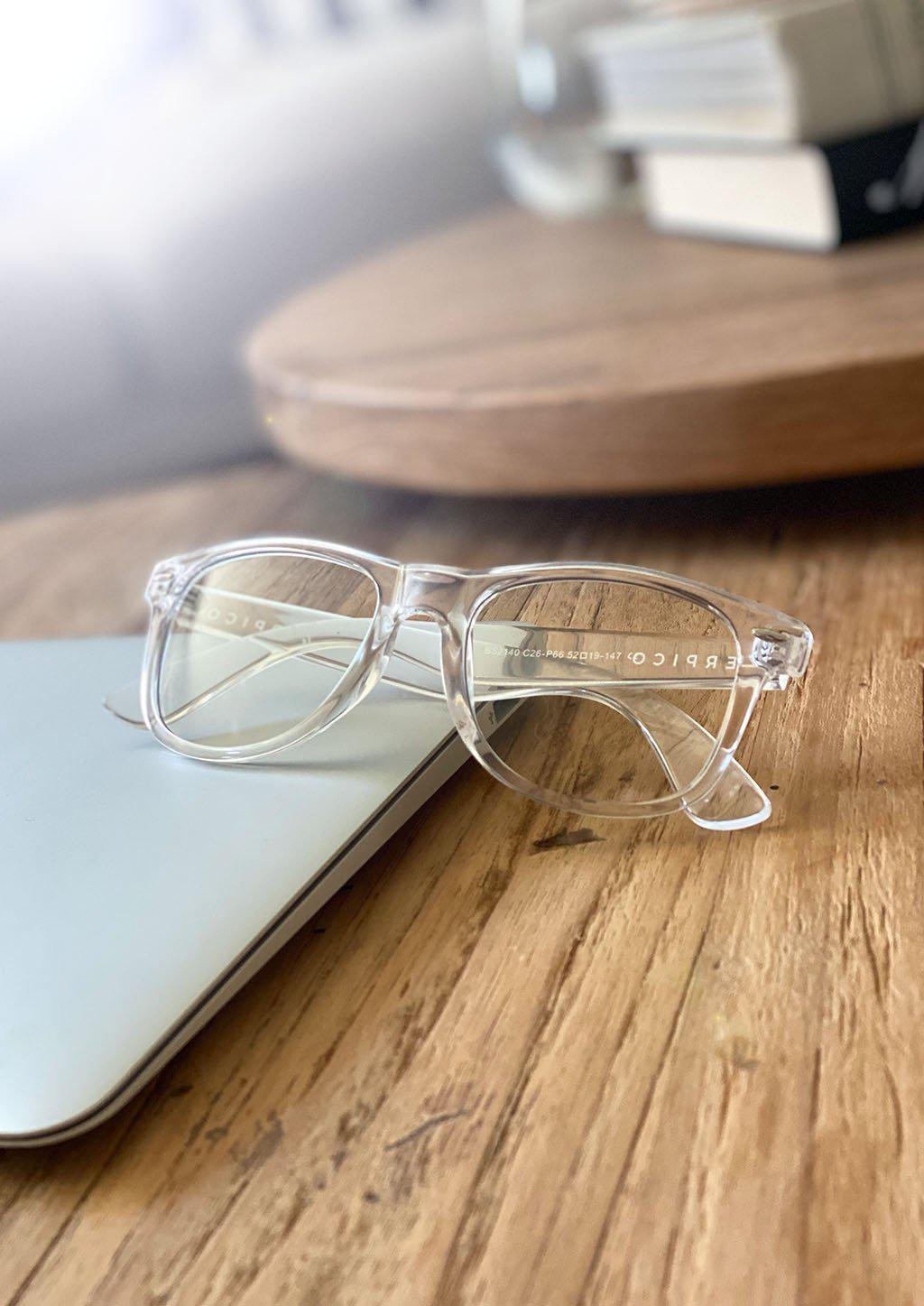 Xenon transparent wayfarer computer glasses with blue light blocking lenses.