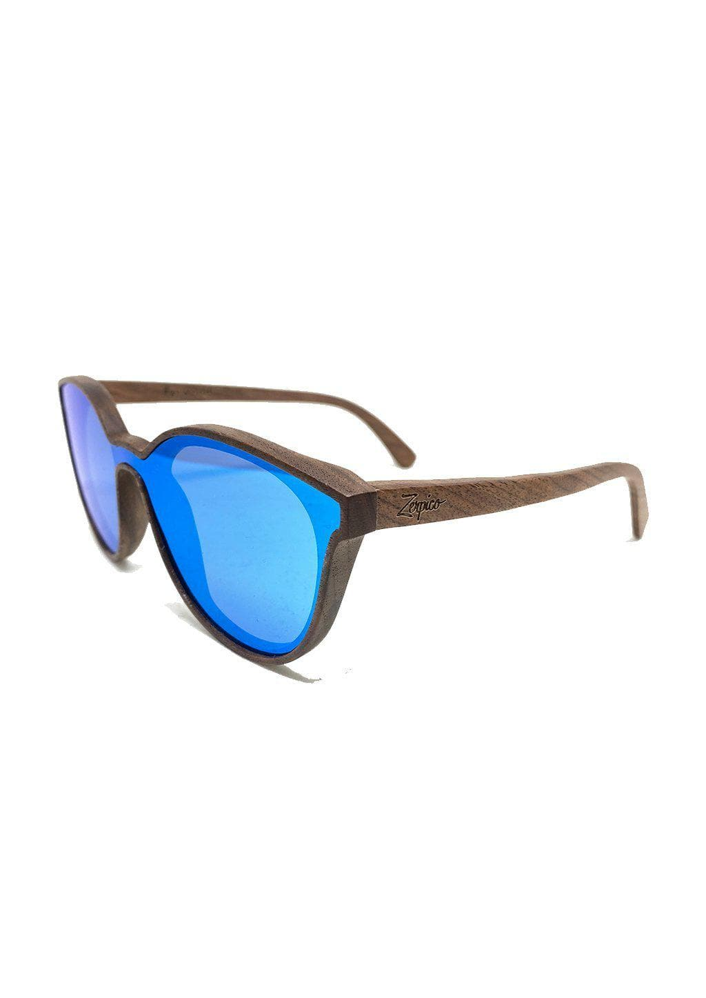 Eyewood - Savannah - All wooden sunglasses with full front blue mirror lenses.