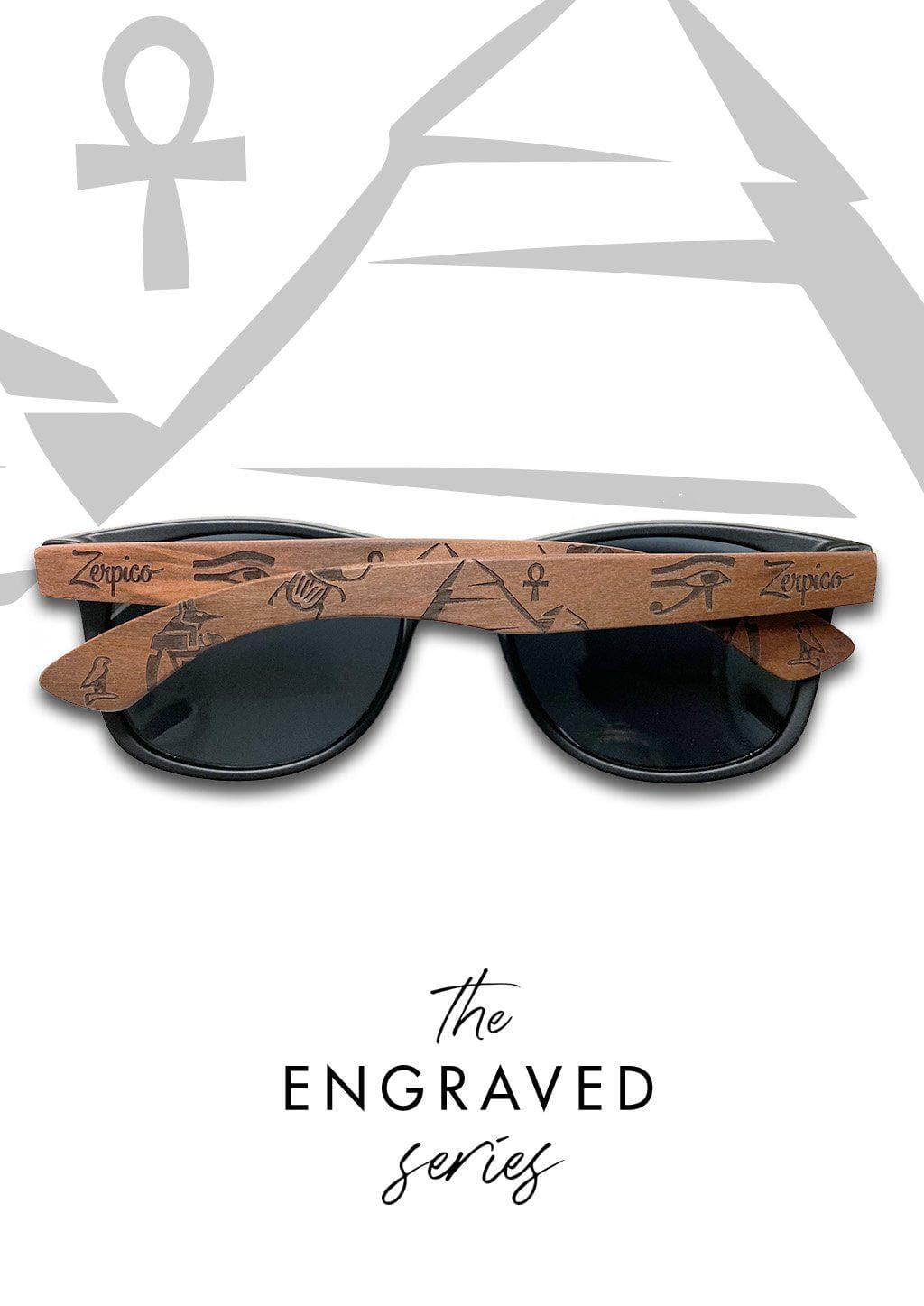 Eyewood Wayfarer  Spec. Ed. - Relic - Our engraved wooden sunglasses with patterns from ancient Eqypt.