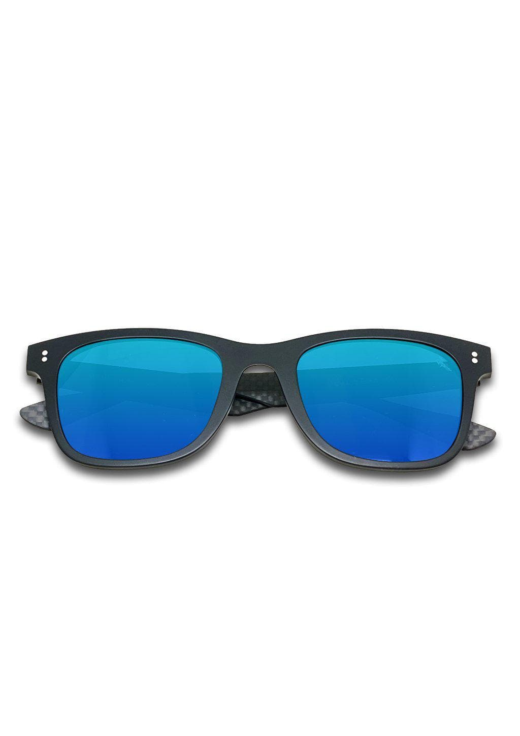 Hybrid - Atom, carbon fiber and acetate sunglasses of the highest quality. Front in black with blue lenses.