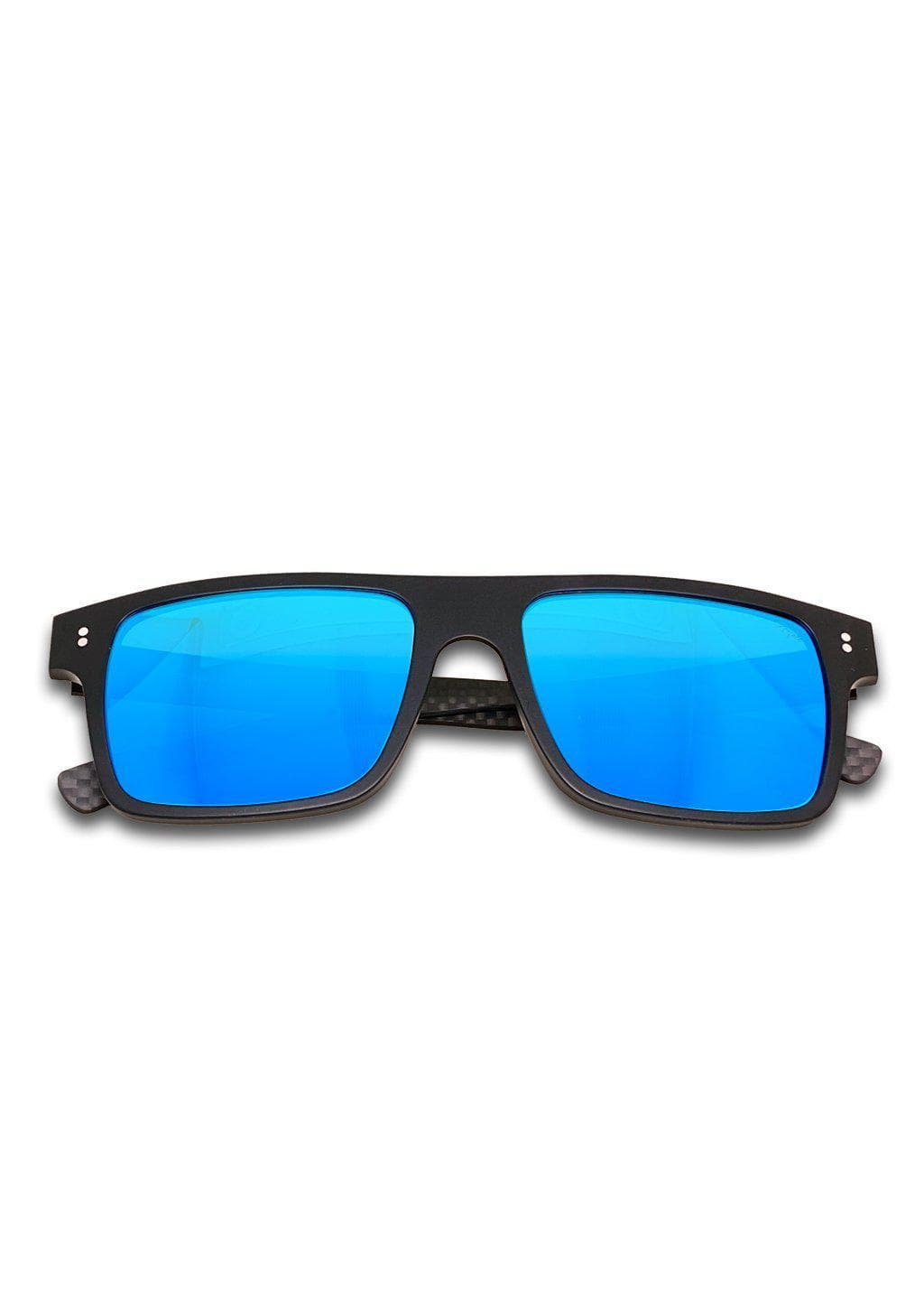 Hybrid - Cubic, carbon fiber and acetate sunglasses of the highest quality. Black frame and blue mirror lenses.