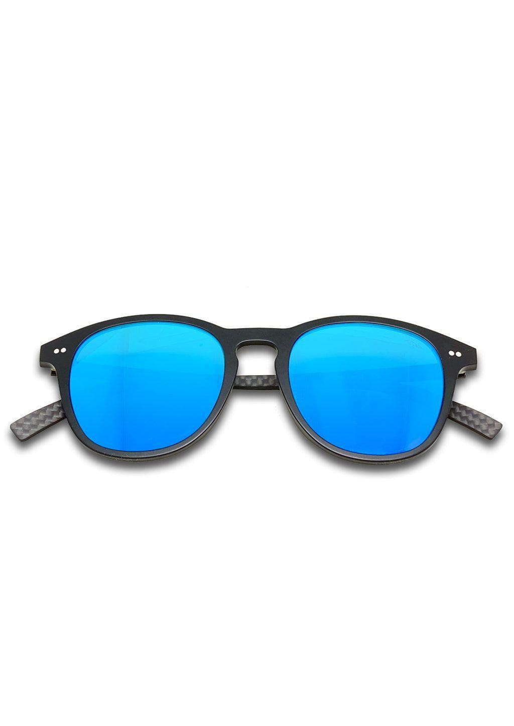 Hybrid - Halo, carbon fiber and acetate sunglasses of the highest quality. Black frame with blue mirror lenses.
