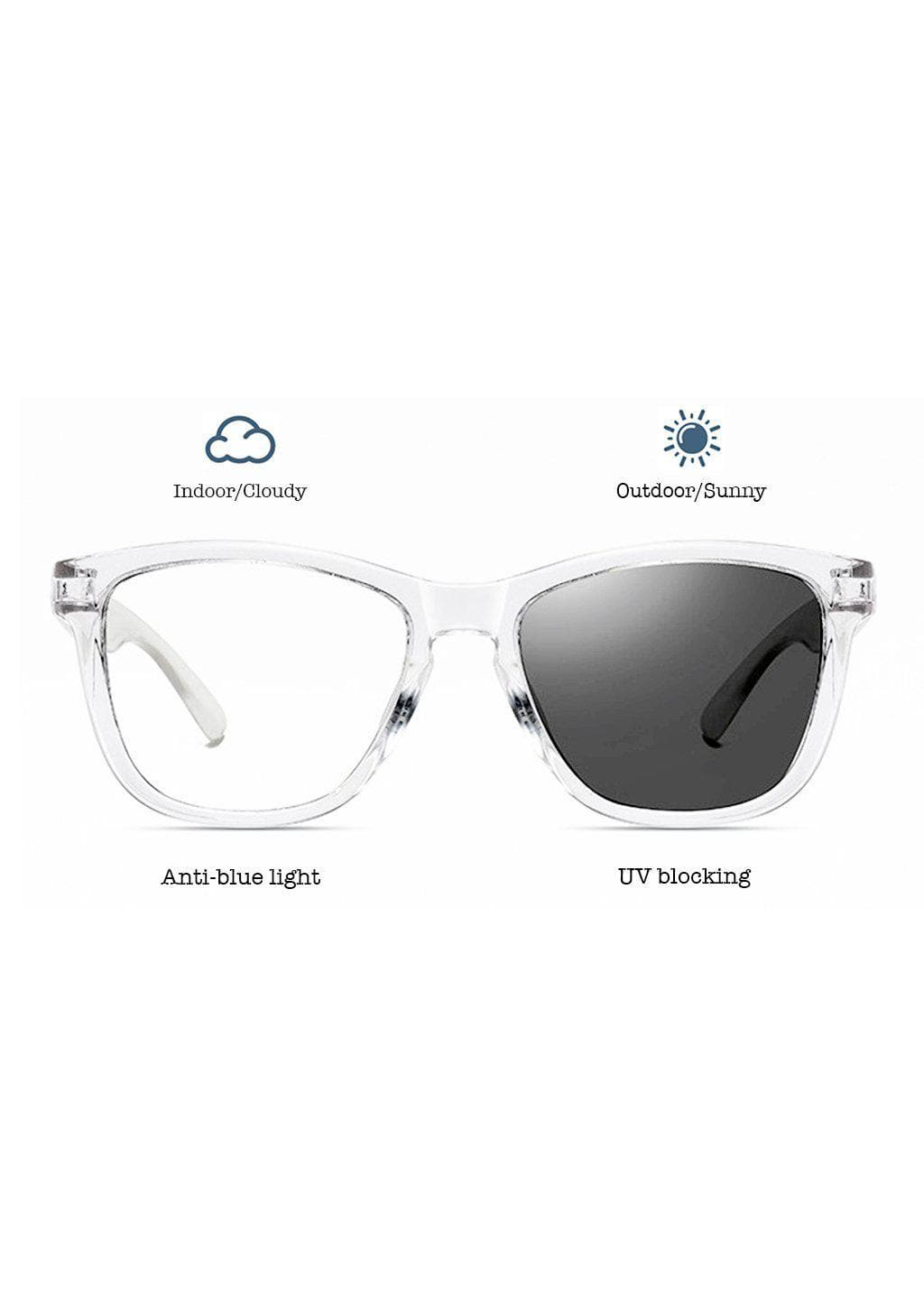 Our Photochromic anti bluelight transparent glasses that work like two in one. Turns dark in the sun and clear inside.
