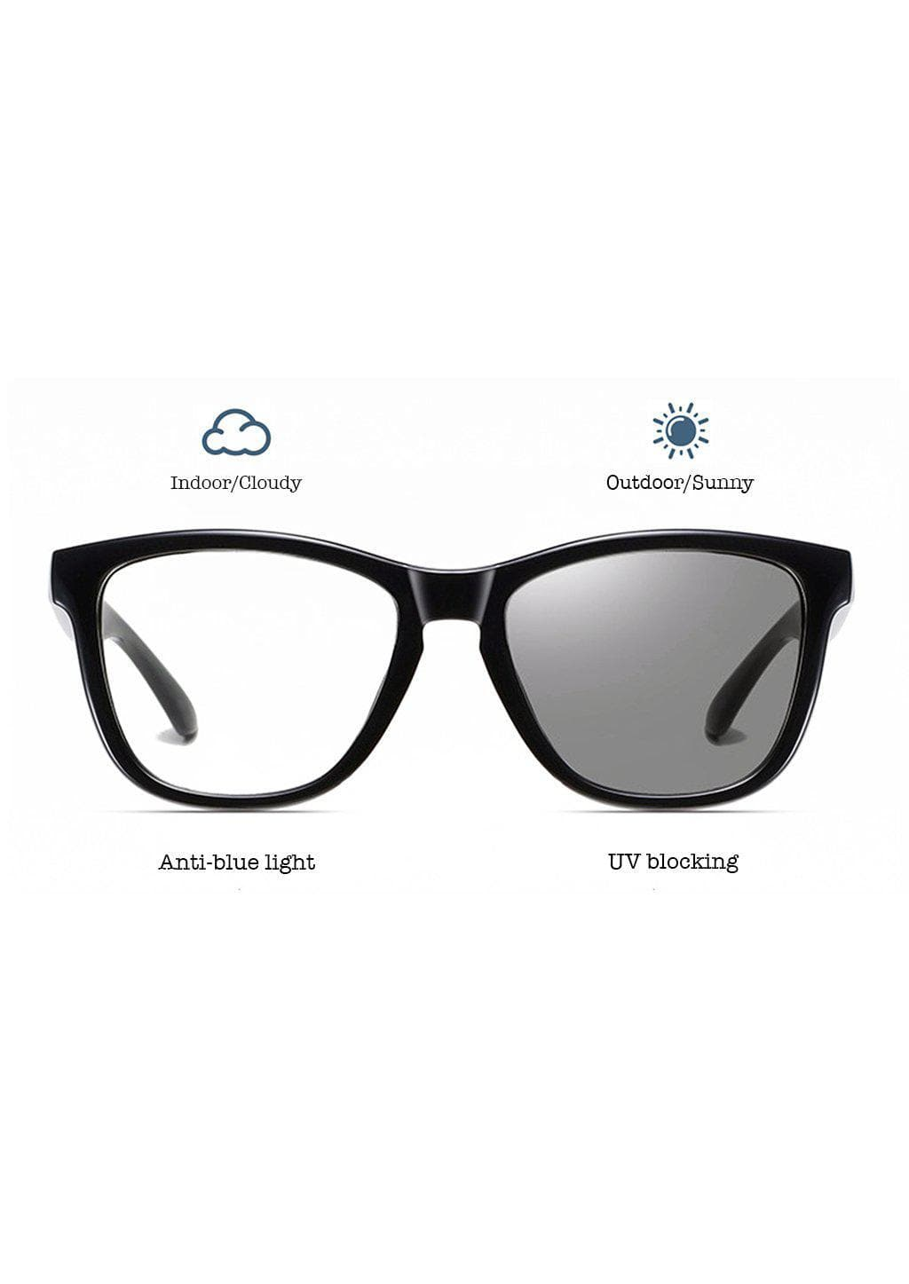 Our Photochromic anti bluelight black glasses that work like two in one. Turns dark in the sun and clear inside.