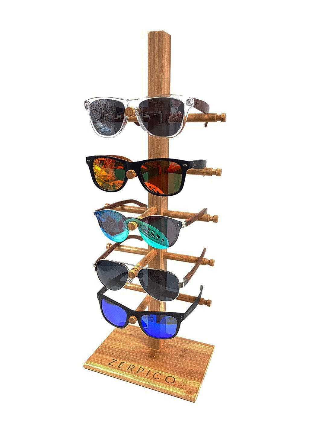 Smaller version of our wooden sunglasses stand. This with sunglasses on it.