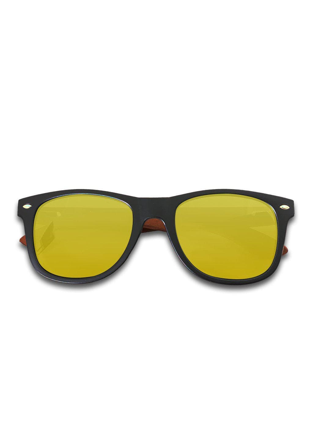 Eyewood Wayfarer - Amber - Our classic wooden sunglasses with golden or yellow mirror lenses.