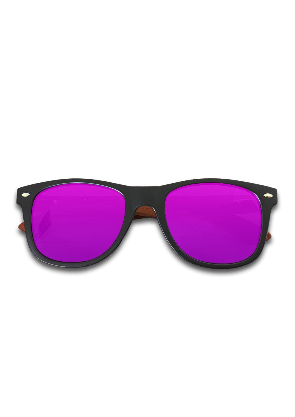Eyewood Wayfarer - Amethyst - Our classic wooden sunglasses with purple mirror lenses.