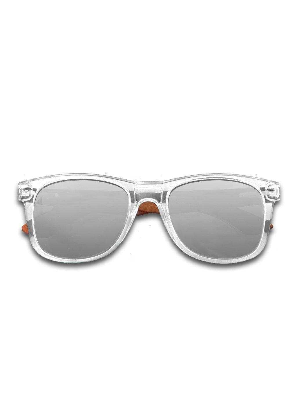 Eyewood Wayfarer - Crystal - Transparent frame with silver mirror lenses.