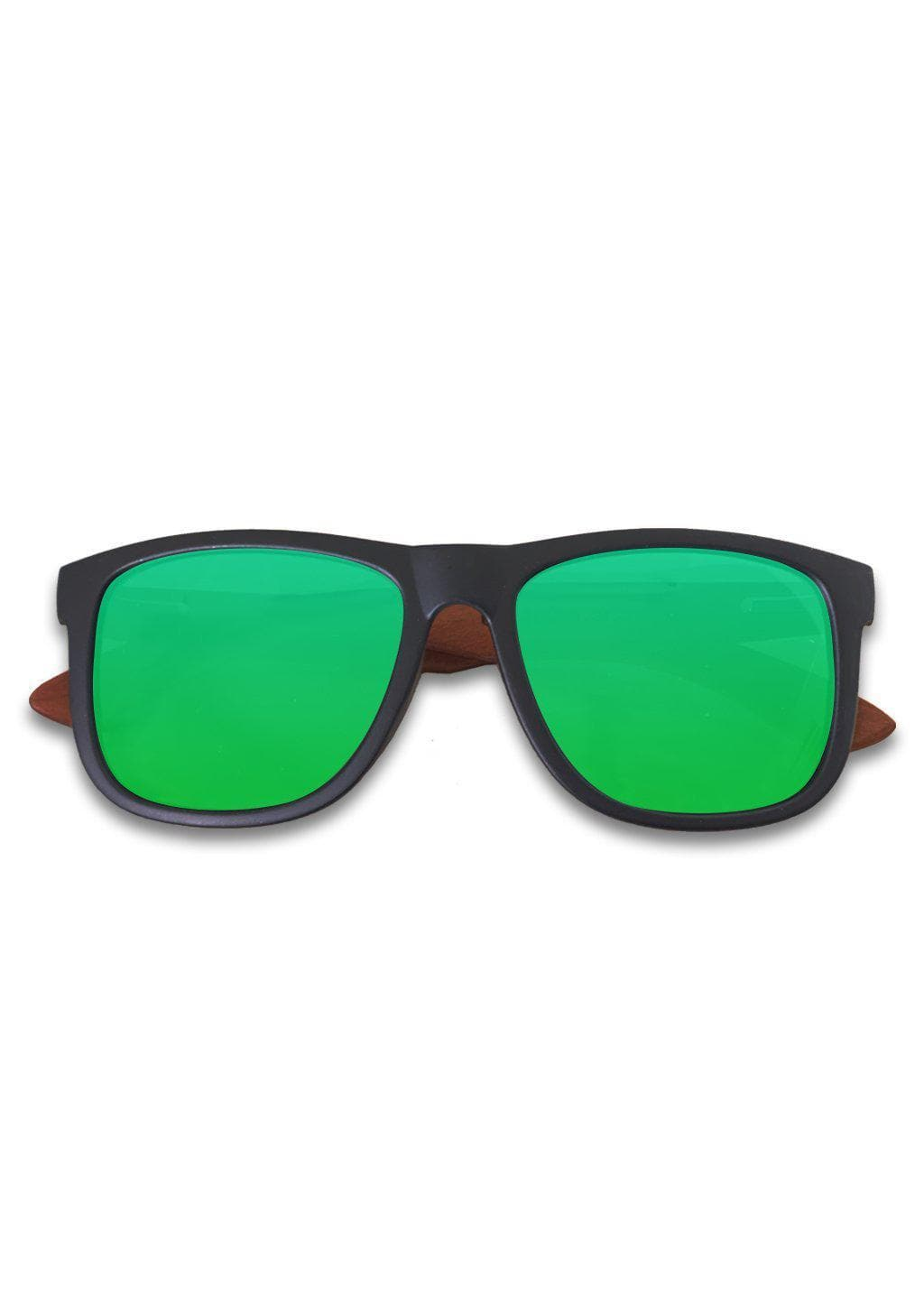 Eyewood Wayfarer - Kiwi - Black frame with green mirror lenses.