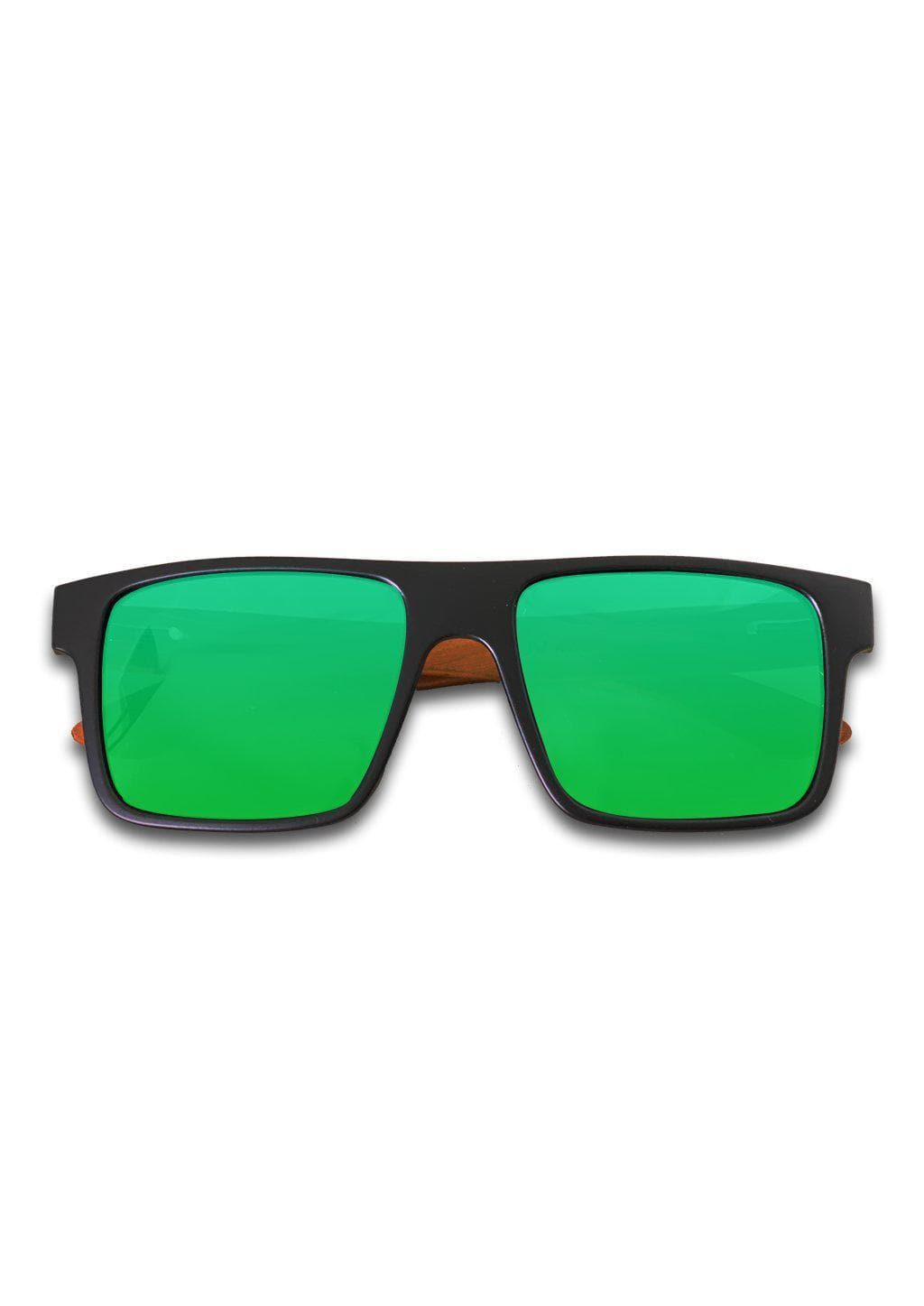 Eyewood Square - Blanka - Our square wooden sunglasses with classic black frame and green mirror lenses.