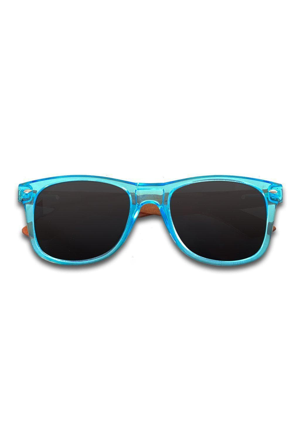 Eyewood Wayfarer - Sapphire - Black - Transparent blue frame with black lenses and temples made of wood.