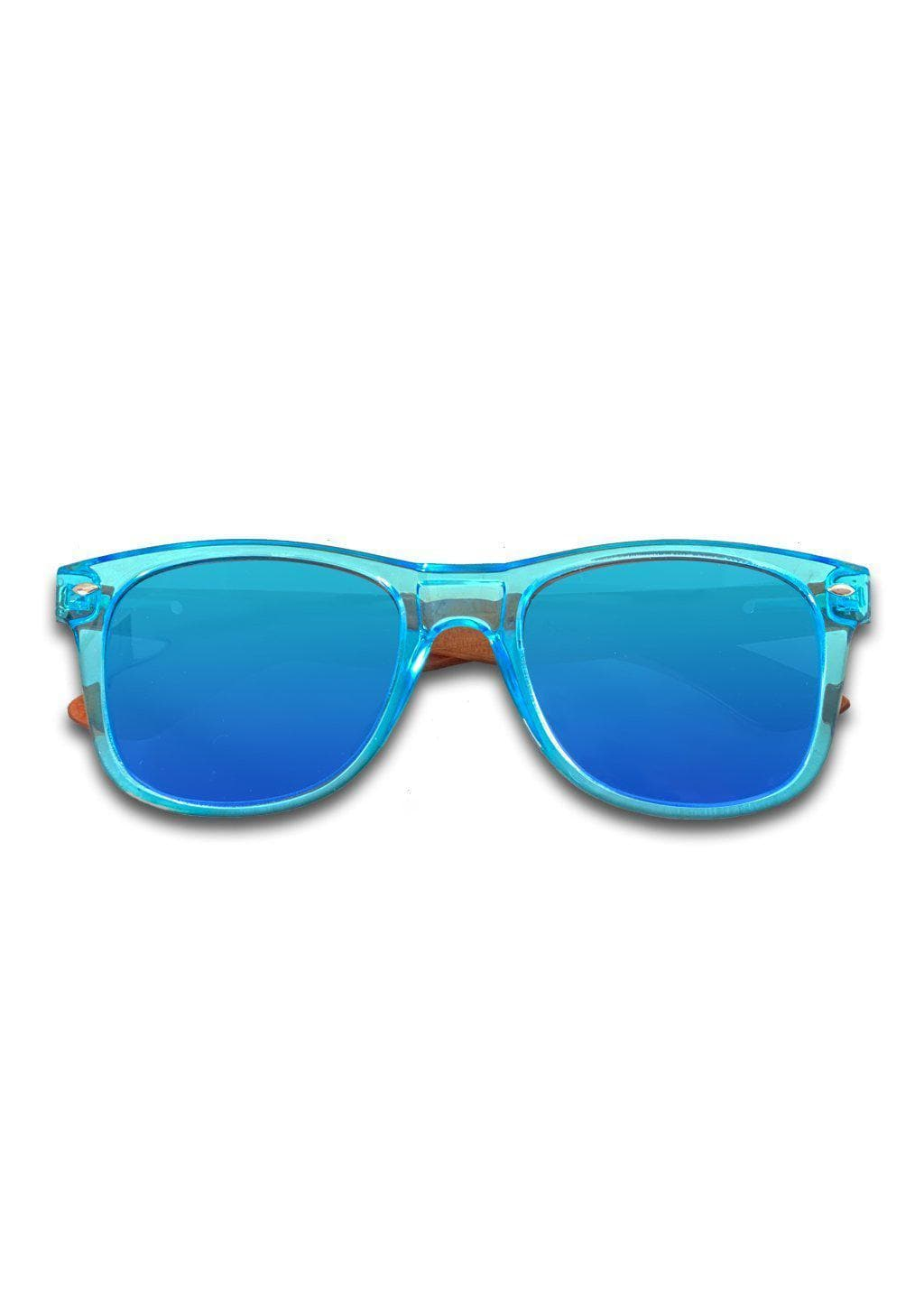 Eyewood Wayfarer - Sapphire - Transparent blue frame with blue mirror lenses and temples made of wood.