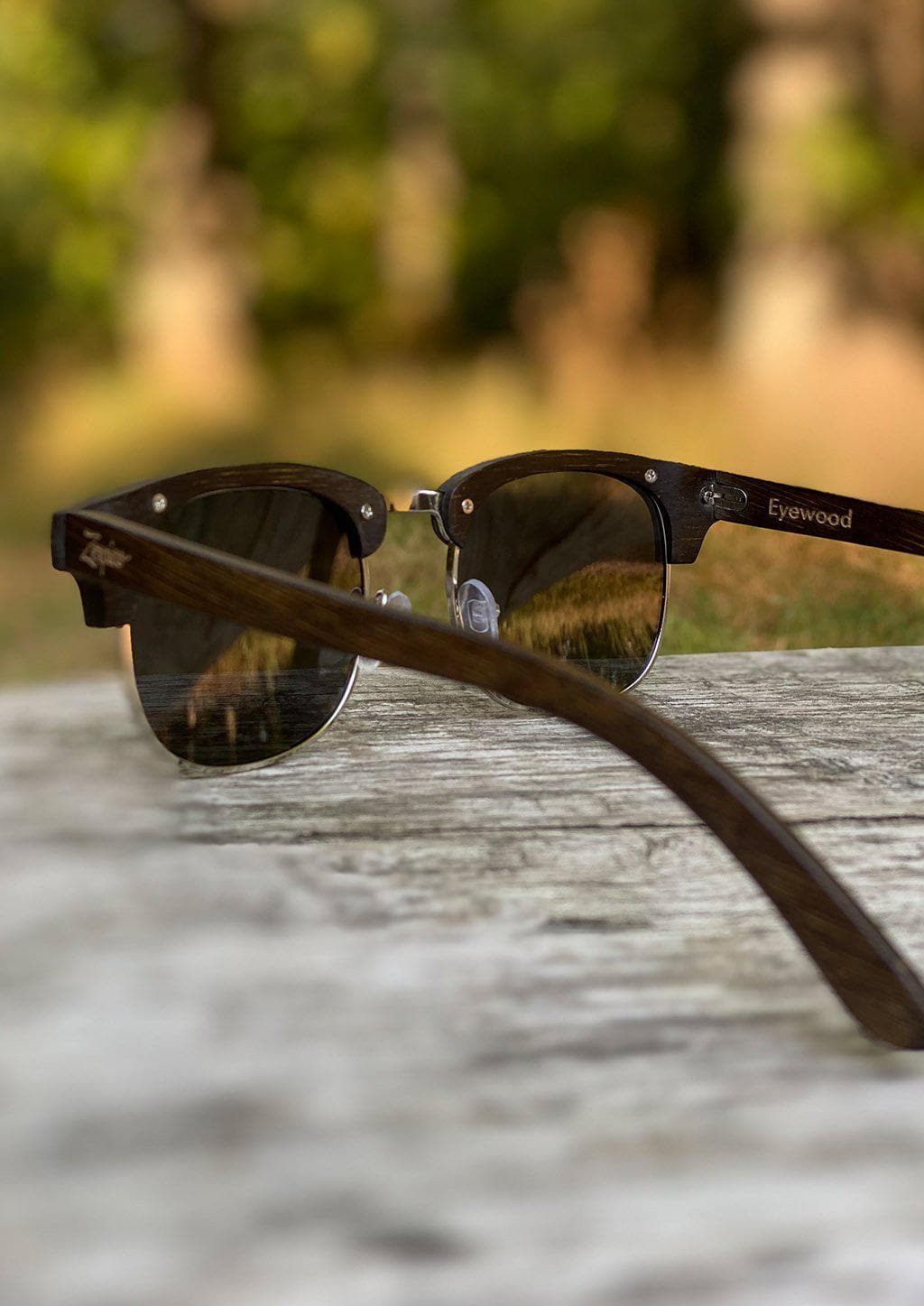 Eyewood Clubmasters is our cool take on classic model. This is Skyler with dark lenses. And also this model is made in all wood. Cool photo from the side.