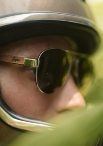 Eyewood Aviators - Falcon - Wooden sunglasses on model in a helmet.