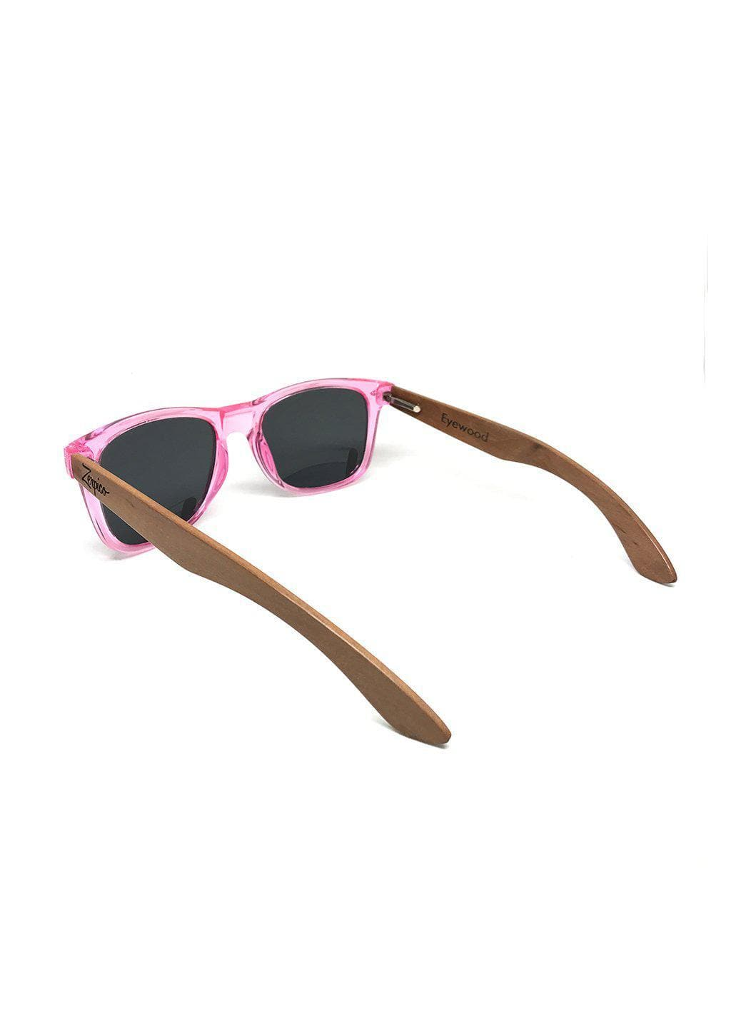 Eyewood Wayfarer - Coral - Nice wayfarers with pink frame and pink lenses. From behind.