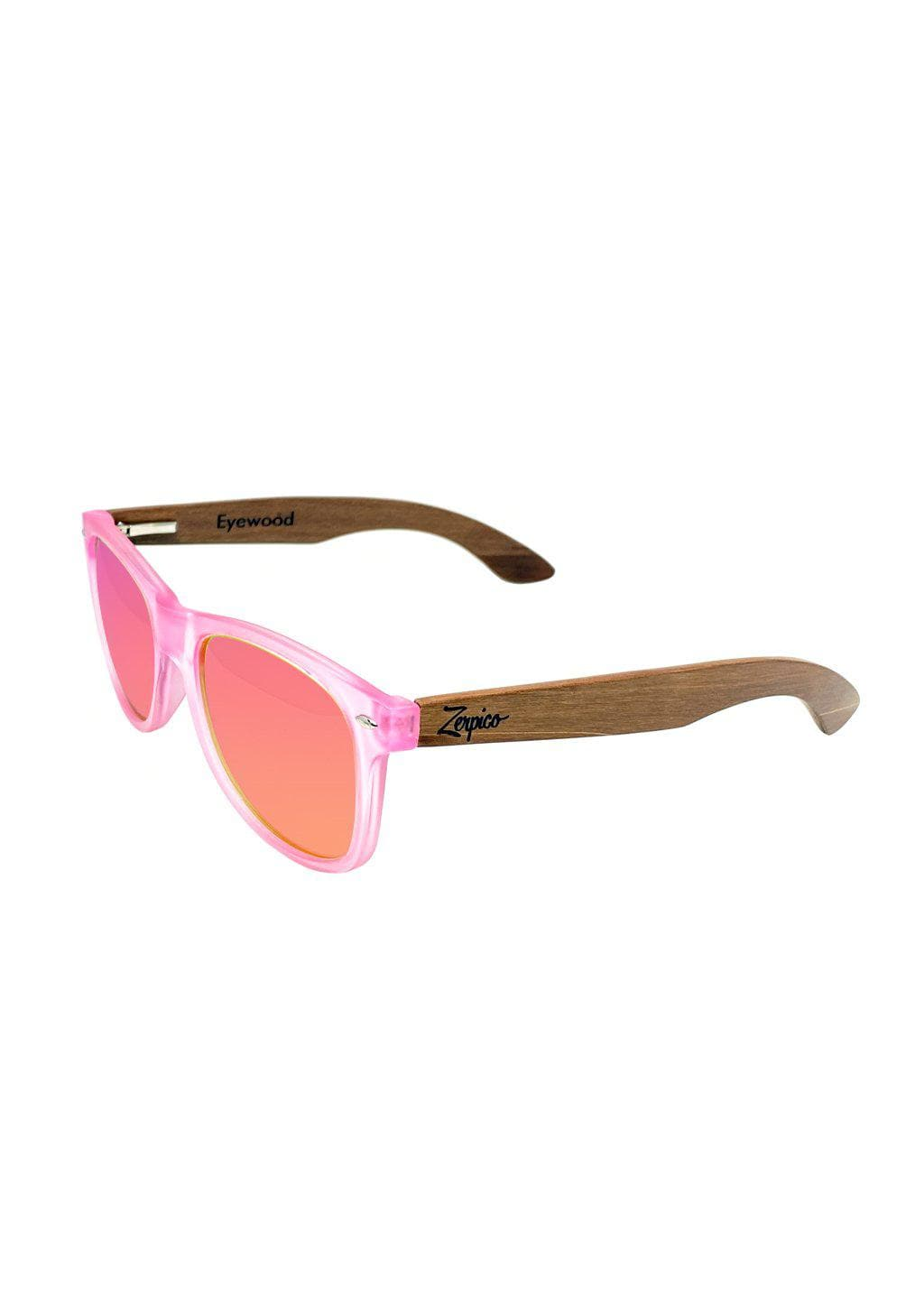 Eyewood Wayfarer - Coral - Nice wayfarers with pink frame and pink lenses. From the side.