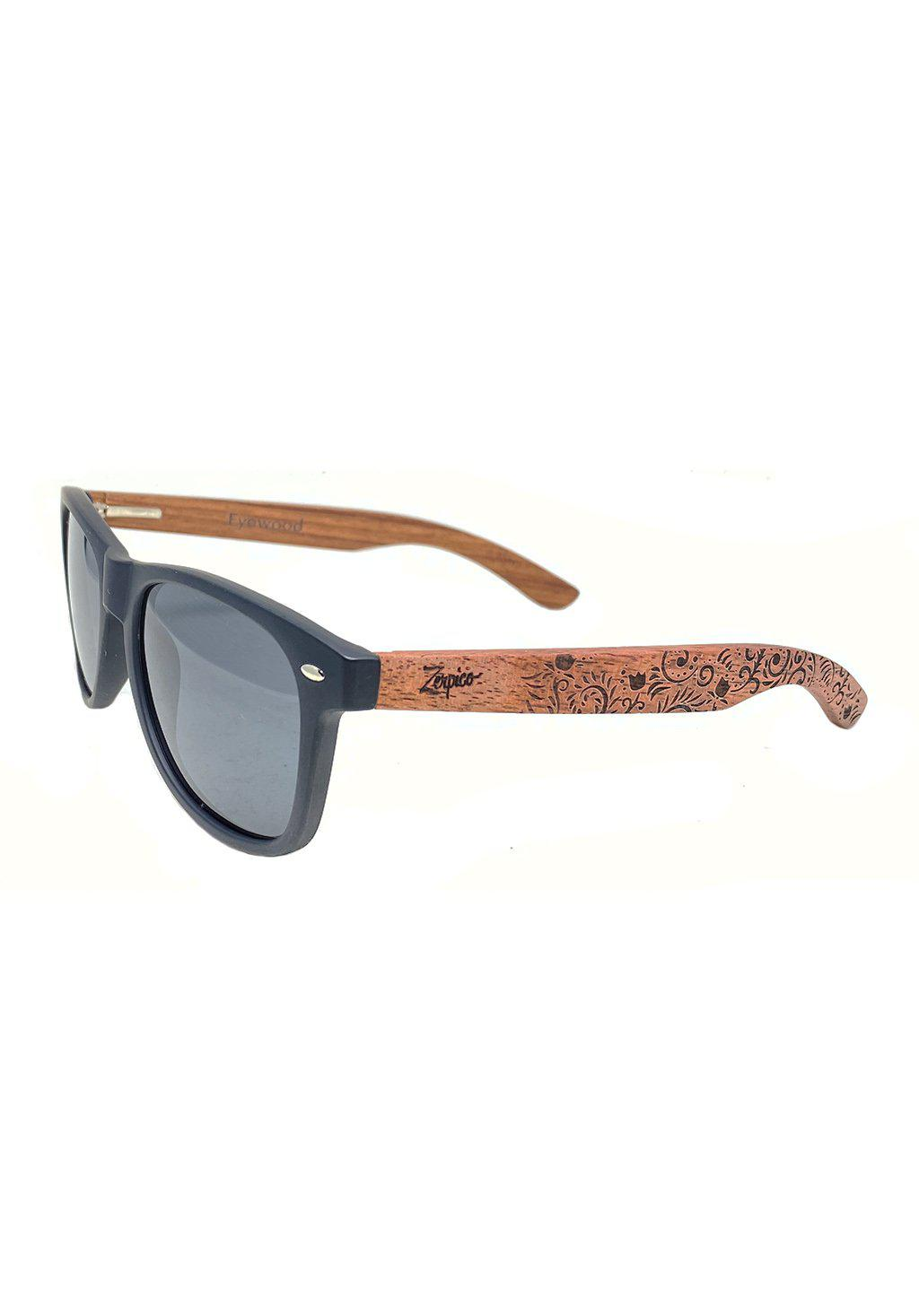 Engraved wooden sunglasses handmade with floral pattern from Zerpico.