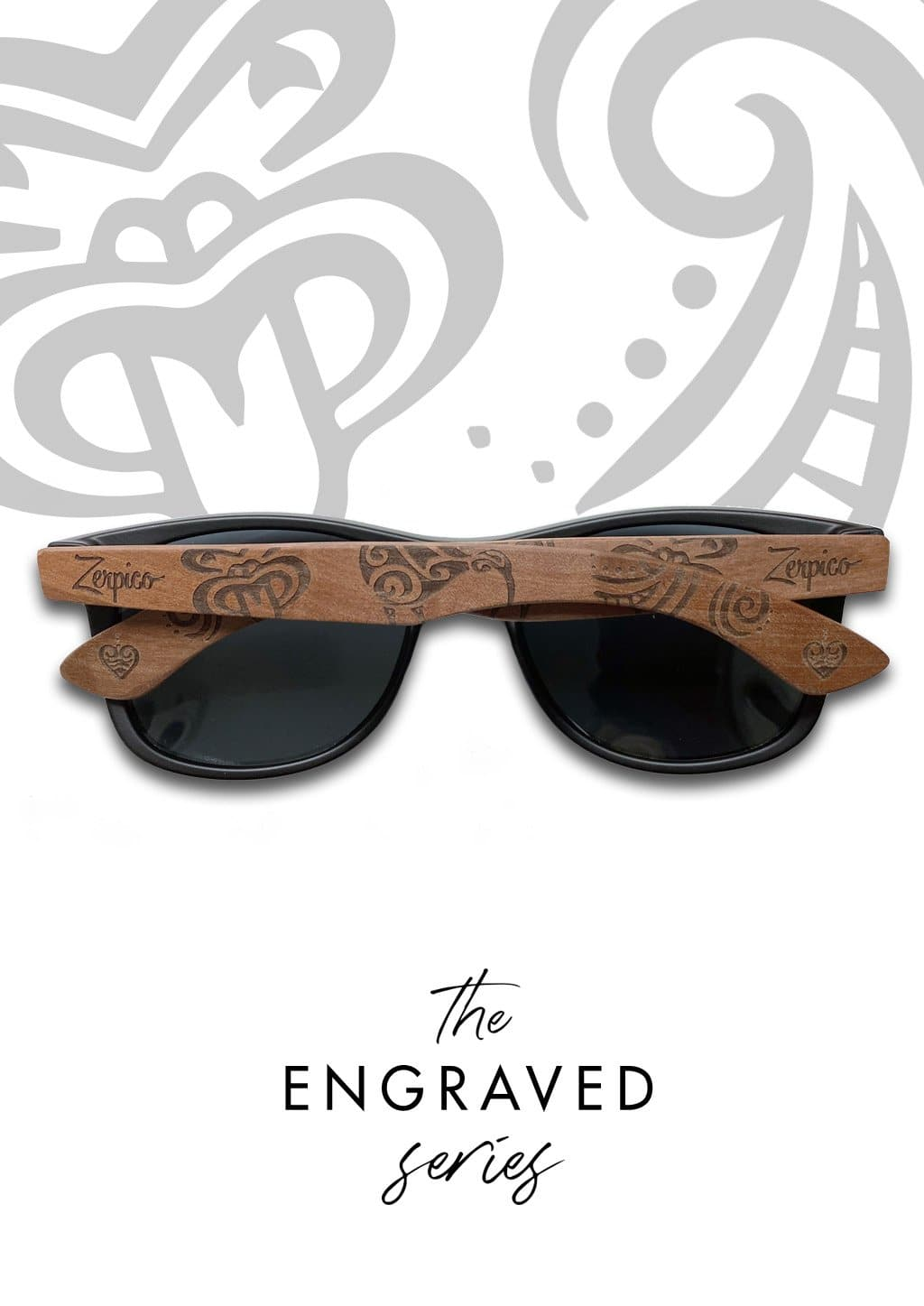Eyewood Wayfarer  Spec. Ed. - Tribal - Our engraved wooden sunglasses with patterns from the Maori kingdoms.