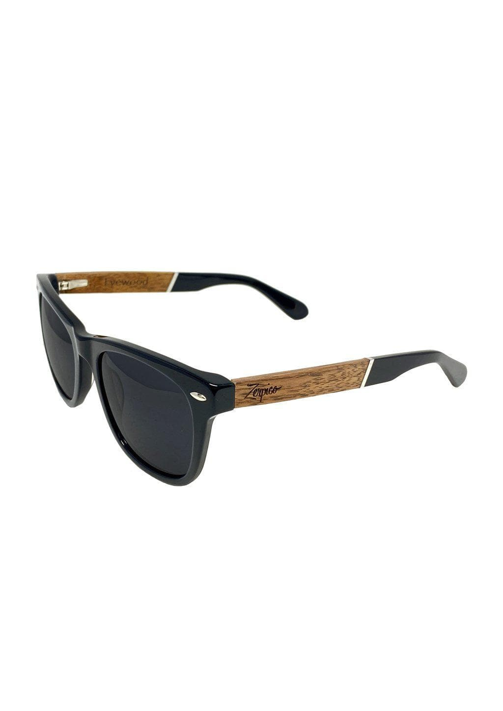 Eyewood Wayfarers - Fusion - Viper - A mix of acetate and wood makes theses sunglasses unique. Front side.