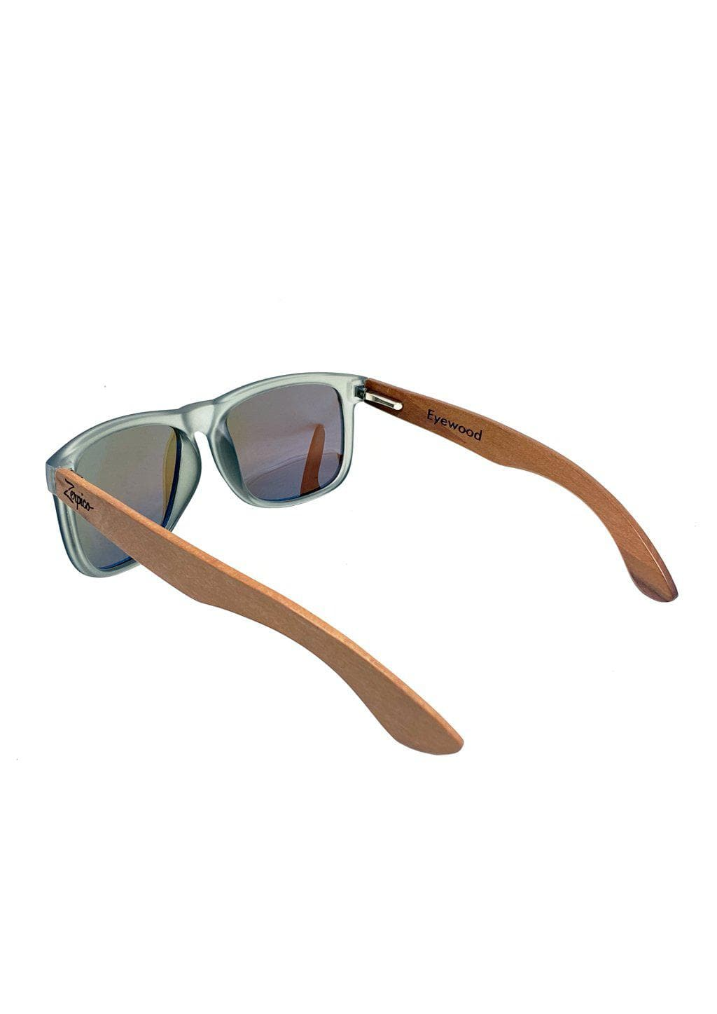 Eyewood Wayfarer - Mist - Beautiful wooden sunglasses with foggy transparent front with awesome blue mirror lenses. From the back.