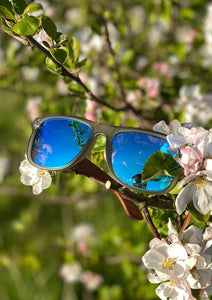 Eyewood Wayfarer - Mist - Beautiful wooden sunglasses with foggy transparent front with awesome blue mirror lenses. Outside in the Swedish summer.