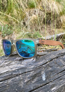 Eyewood Wayfarer - Mist - Beautiful wooden sunglasses with foggy transparent front with awesome blue mirror lenses. From the front in the woods.