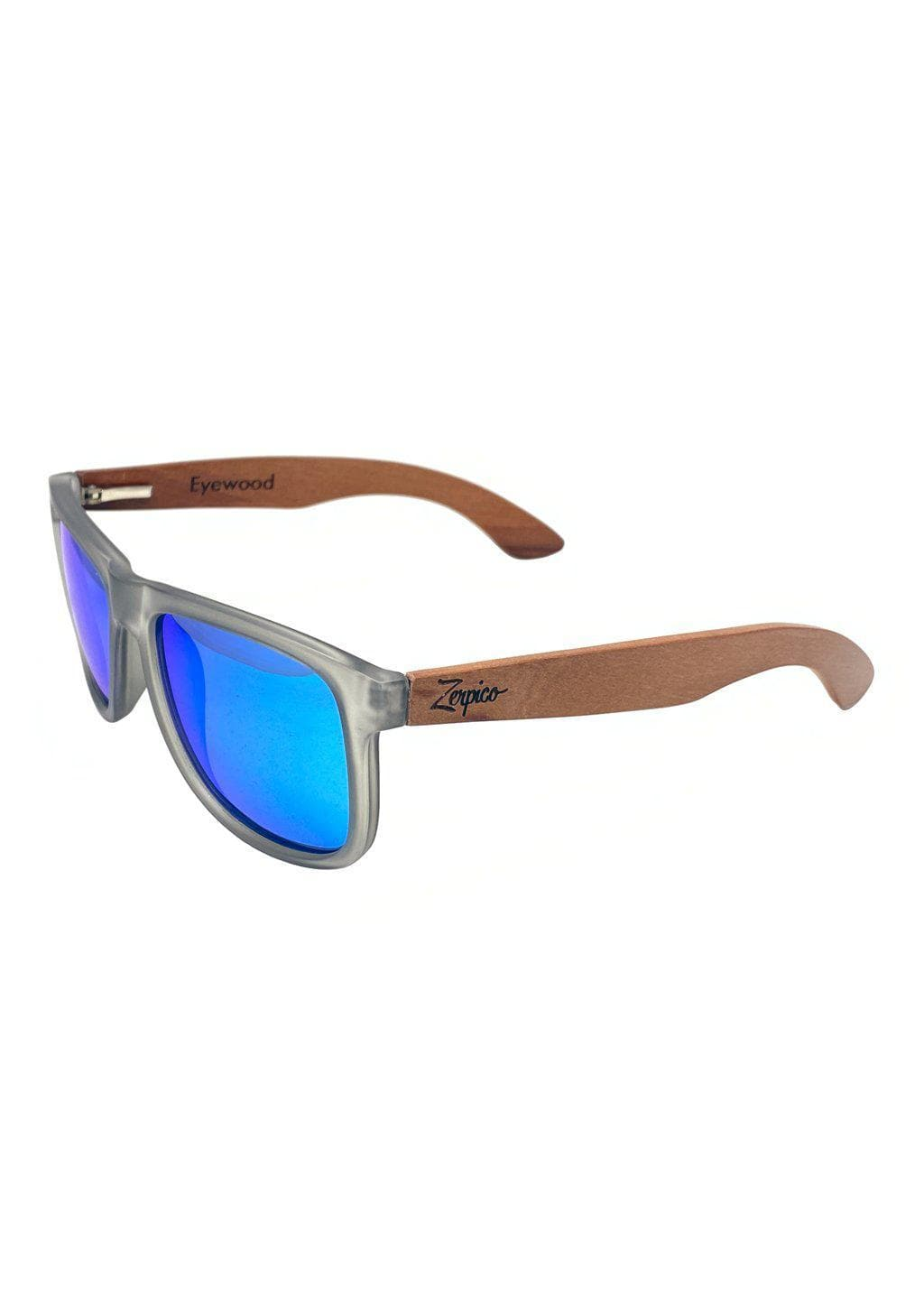 Eyewood Wayfarer - Mist - Beautiful wooden sunglasses with foggy transparent front with awesome blue mirror lenses. From the side.