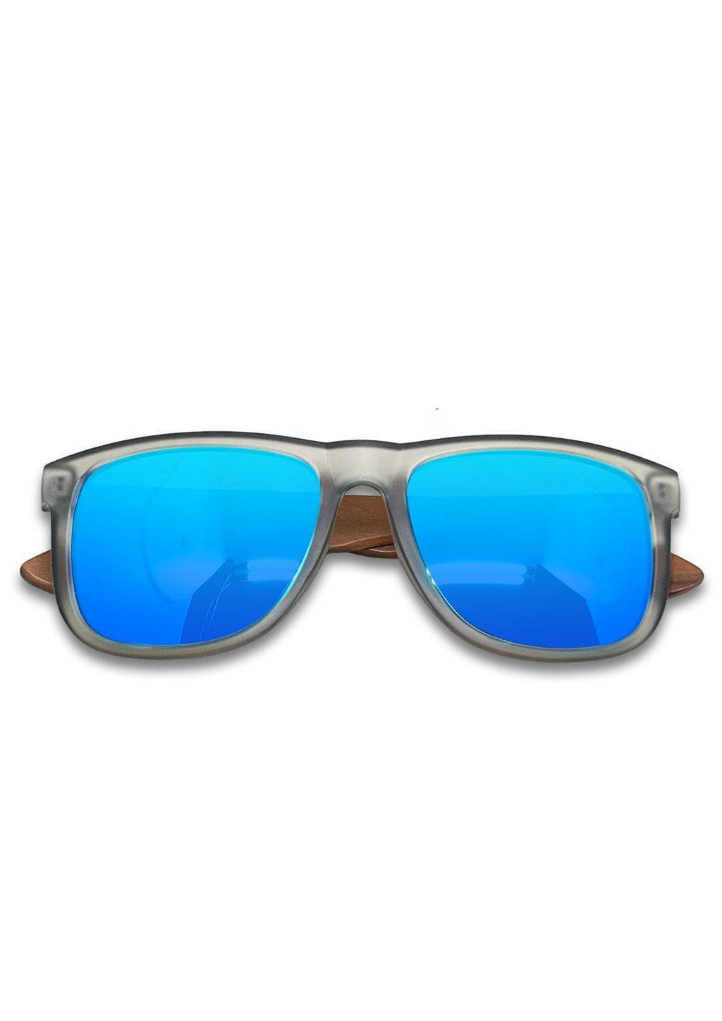 Eyewood Wayfarer - Mist - Beautiful wooden sunglasses with foggy transparent front with awesome blue mirror lenses.