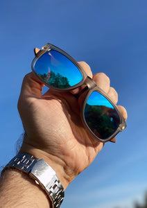 Eyewood Wayfarer - Mist - Beautiful wooden sunglasses with foggy transparent front with awesome blue mirror lenses. Reaching for the sky.