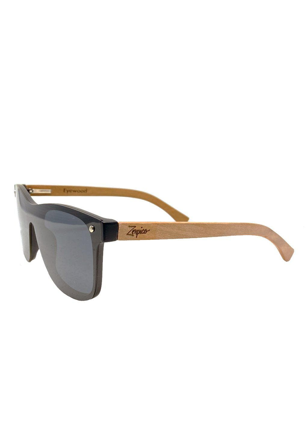 Eyewood tomorrow is our modern cool take on classic models. This is Taurus with black lenses. Nice wooden sunglasses. From the side.