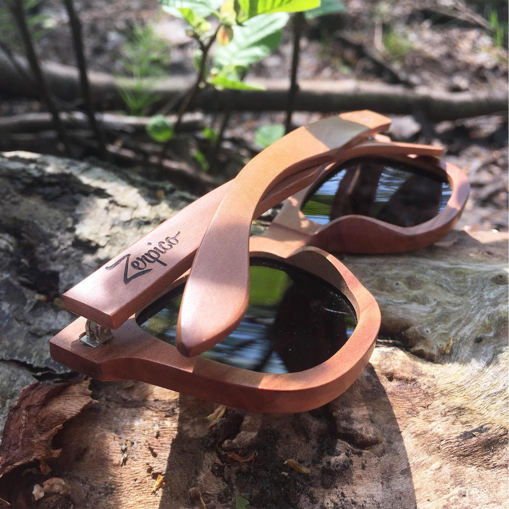 Eyewood Wayfarer - Wade - All wooden sunglasses in the forest sun