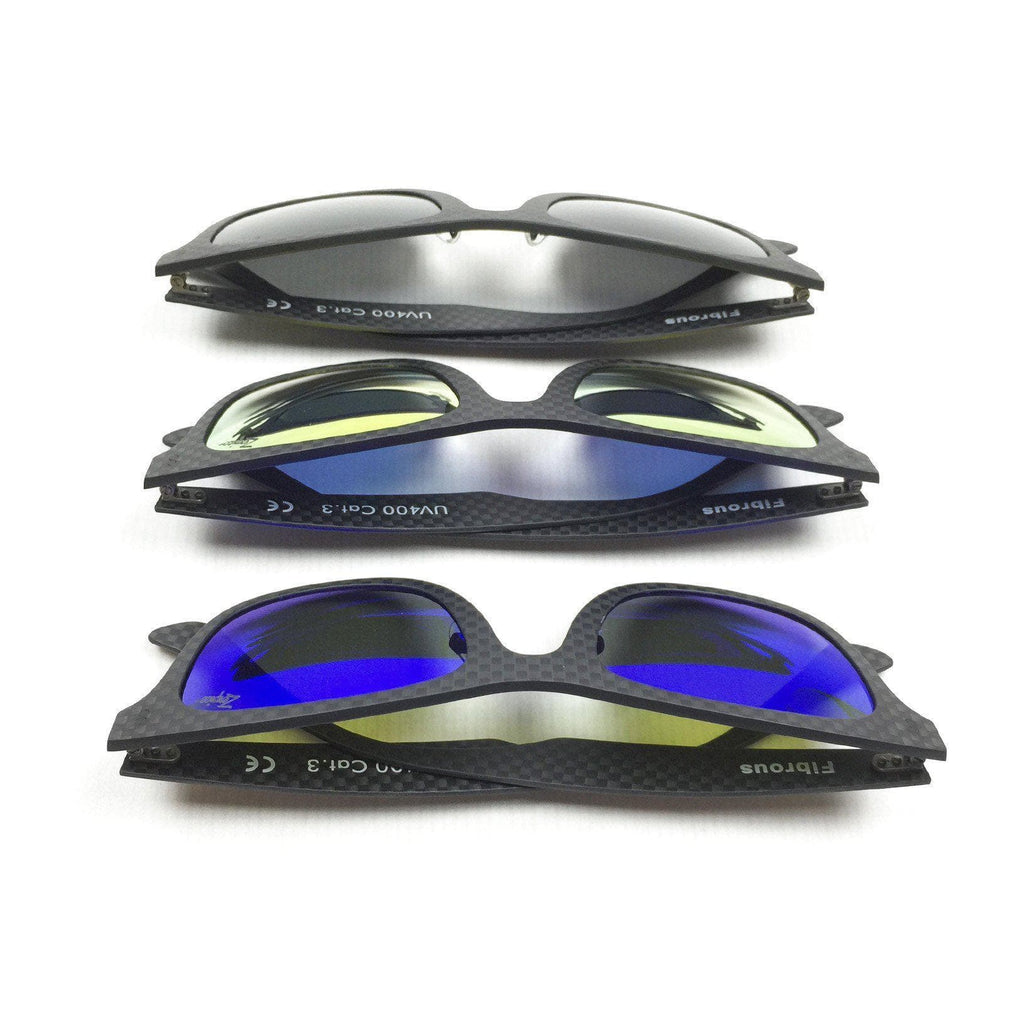 Fibrous Extra Lenses in three colors. Blue, golden and black.