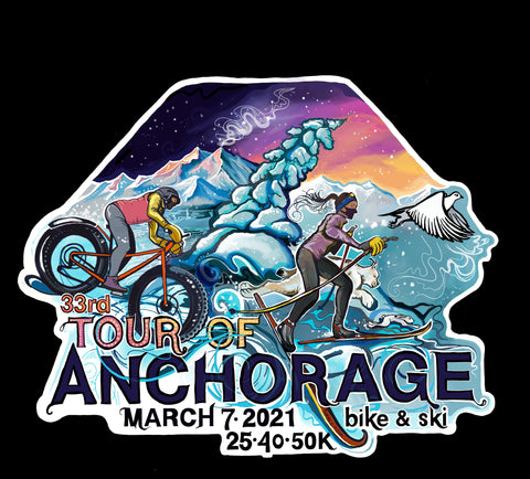 Tour of Anchorage Desgin 2021 NSAA Sarah K. Glaser illustration of cross country nordic skiier, fatbiker, and lynx