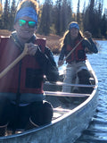 Wonderful friends wearing Turnagain Pass Skiing Map Buff while canoeing