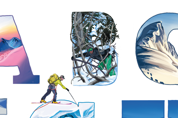 B is for Bushwacking backcoutry skiing alphabet Sarah K. Glaser GlacierLines
