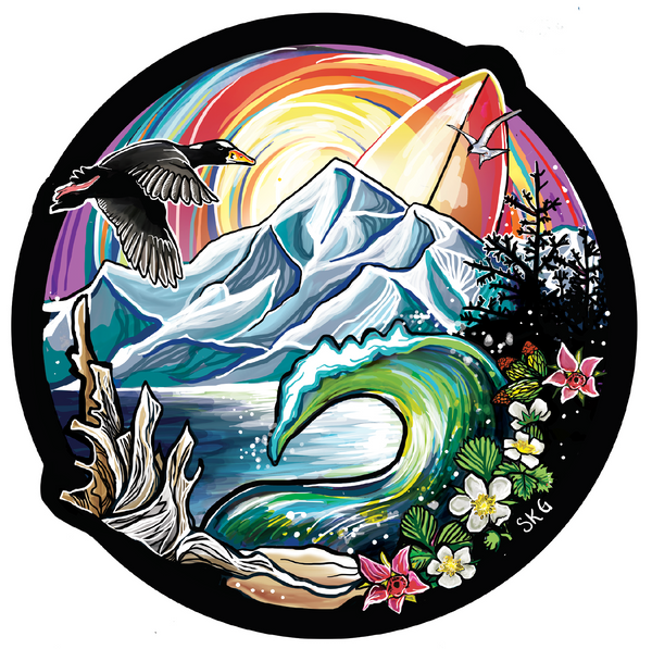 Alaska surfing sticker by Sarah K. Glaser illustration featuring drift wood, a wave, a surf scooter, and strawberry flowers