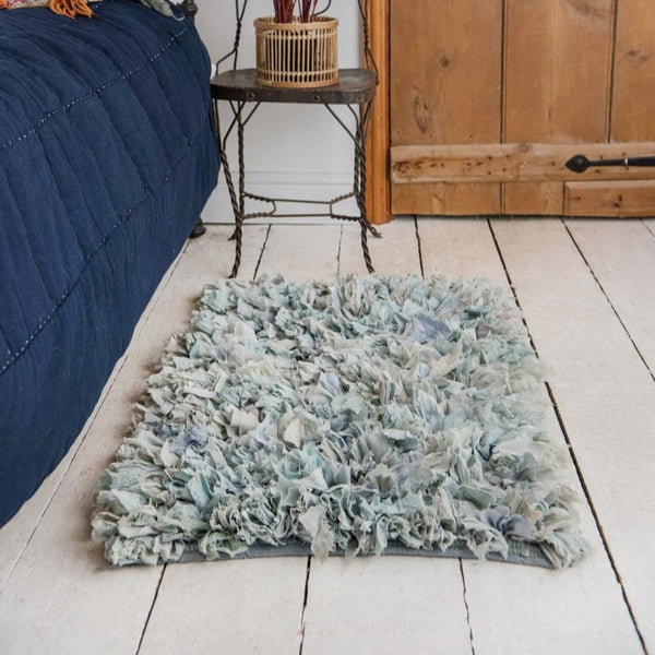 Blue Recycled Silk & Crepe Shaggy Rug