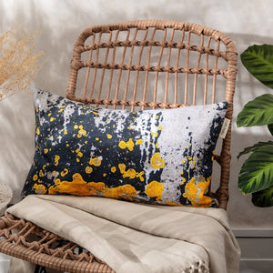 Charcoal Grey with Yellow Ochre Spot, Slim Cushion - 'Nomad Splash'