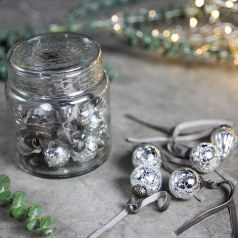 Glass Baubles in a Sweets Jar - Antique Silver