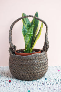 Grey Jute Hanging Basket