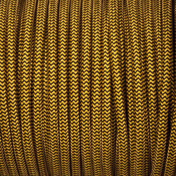 Round lighting cable - Black and yellow braided fabric