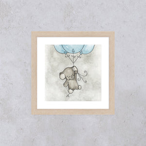 'Little Elephant' Square Print - Blue