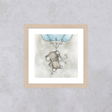 Little Elephant Square Print - Blue