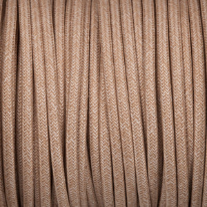 Round lighting cable - Canvas linen braided fabric