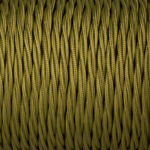 Twisted lighting cable - Cyprus green braided fabric