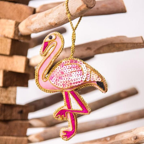 Hand Embroidered Flamingo Decoration