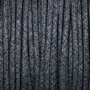 Round lighting cable - Denim braided fabric