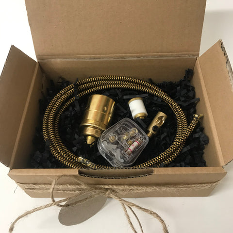 Brass Bottle Lamp Kit with Shade Rings