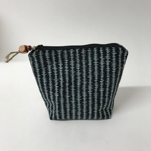 Black and blue grey Cosmetic Bag - Medium